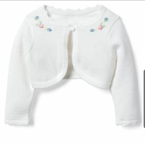 Janie and Jack Cropped Flower Cardigan, 12-18 mo.